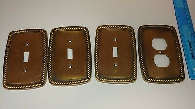 Liberty 2005 LHMC 3 Switch Plate 1 Plug Wall Cover Beaded Frame Satin Dark Brass