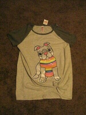 Justice  NWT   Girls Size 14/16   Gray With Sequined Puppy  Tee Shirt