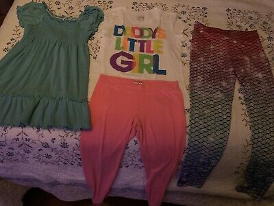 Justice Size 14 Mermaid Leggins Daddy's Little Girl Pink Leggins Route 66 Blouse