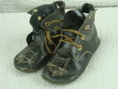 """Antique 1920s Leather Baby Doll Shoes Boots Black w Cat Faces Cute 5"""""""