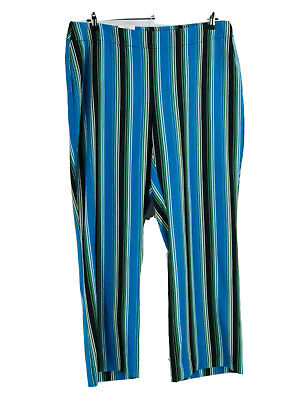 INC International Concepts Women's Plus Blue Striped Wide Leg Pants Size 18W NEW