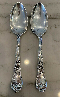 2 Early Gorham Sterling Silver Large Serving Spoons 1860-1890 -9""