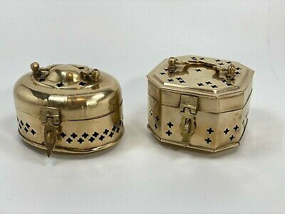 Lot of Two Vintage Pierced Brass Incense Burners, Trinket/Potpourri with Latch