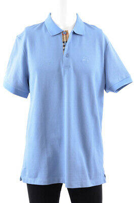 Burberry light blue XL embroidered logo button front S/S polo t-shirt NEW $240