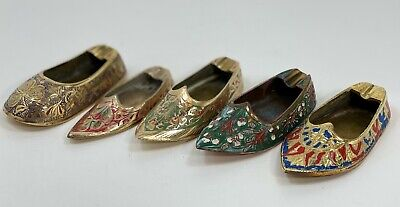 Lot of 5 Painted Brass Shoe Ashtrays / Incense Burners. Floral/ Designs.