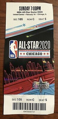 2020 NBA All-Star Game Full Ticket Stub Chicago 2/16/20 Exc