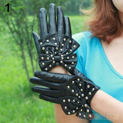 JW_ CW_ Women Faux Leather Punk Rivets Studs Bowknot Comfortable Gloves Gift C