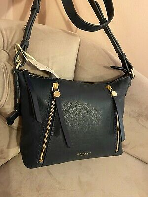 Radley Fountain Road Navy Blue Leather Cross Body Bag Brand New Tags Uk