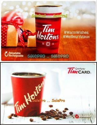 2x TIM HORTON 2017 2018 WARM WISHES & RECHARGEABLE COLLECTIBLE GIFT CARD LOT