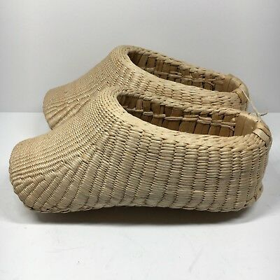 Vintage Chinese Childs Rice Farmers Shoes Hand Woven Braided Bamboo Wicker