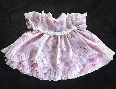Vintage Martha's Miniatures Dress Girls 6-12M Pink Ruffles And Lace