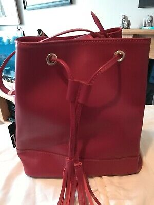 Lamarthe Paris Red Leather Duffle/Bucket Bag with Tassle Detail - Never used