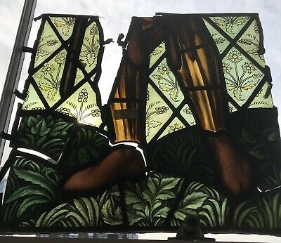 William Morris Burne Jones Antique Stained Glass Fragment  Feet Pre-Raphaelite