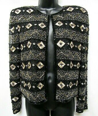 PAPELL BOUTIQUE Evening Size S Black Gold Fully Beaded 100% Silk Party Jacket