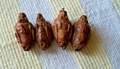 4 Antique Chinese carved Hediao nut beads Buddha prayer asian Heidao
