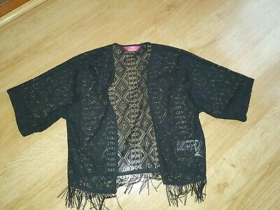 Girls Black Fringe lace Bolero Cardi Jacket Age 8-9