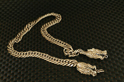 very big chinese tibet silver dragon necklace pendant jewel gift
