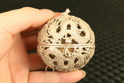 chinese old tibet silver hand carved fengshui hollow dragon netsuke statue