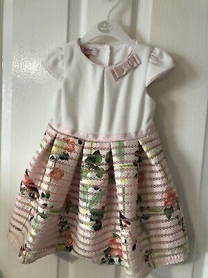 Ted Baker girls pink mixed dress age 12 - 18 months fab condition