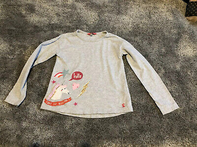 Girls Joules Top Age 7 - 8 Grey Horse Long Sleeved