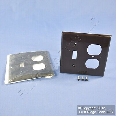 2 Leviton Brown 2Gang UNBREAKABLE Switch Outlet Wallplate Receptacle Cover 80705