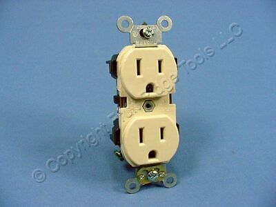 Leviton Ivory INDUSTRIAL SLIM BODY Receptacle Duplex Outlet 5-15R 15A 5262-SI