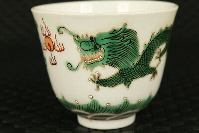 Chinese jingdezhen porcelain painting qing dynasty dragon tea cup bowl collect
