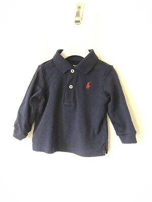 Ralph Lauren Baby Boys Navy Longsleeved Polo Top Age 6 Months Immaculate