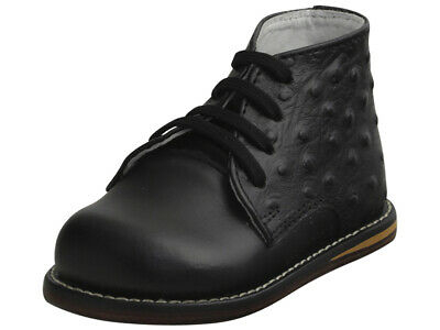 Josmo Infant Boy's First Walker Fashion Black Ostrich Lace Up Oxford Shoes