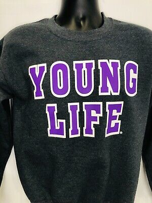 YOUNG LIFE Arizona Religious Christian Sweatshirt Gray Purple Spell out Small