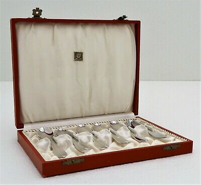 Set 6 Sterling Silver Demitasse Spoon Marked Frigast Denmark with Collector Box
