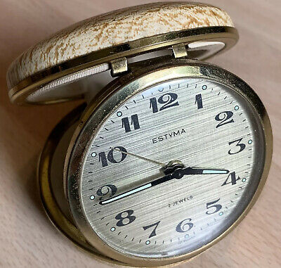 Estyma travel alarm clock Jewel 2 Gold Round Vintage Working P&P