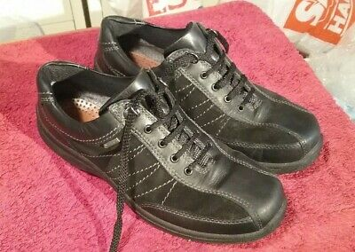 Hotter Comfort Ladies Casual Black Leather Trainers, UK SIZE 7, made in England