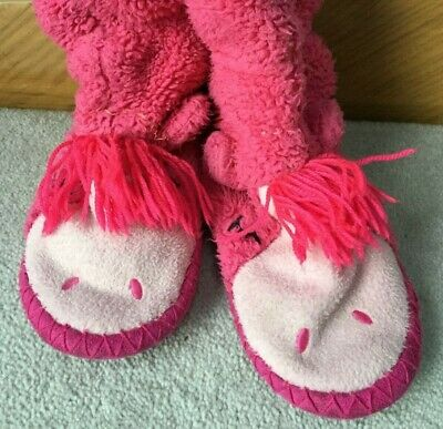 JOULES -Sleepy Horse Pull ON Slippers - Pink Girls size 11-13 Kids BIN Available