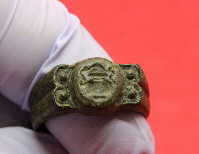 Ancient Byzantine Bronze Ring Engraved Treasure 400-600Ad