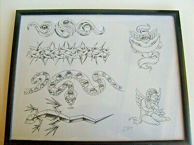"Framed Tatoo Flash Art Line Drawing Unsigned Angels Snake 15:X12""  Nr"
