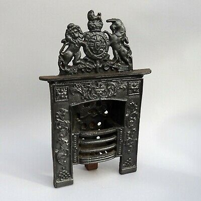Antique Miniature Cast Iron Fireplace ~ Royal Coat of Arms ~ Advertising Model