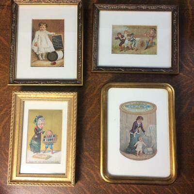 Lot 4 Antique Framed Trade Cards SEWING THREAD J&P Coats Clarks ONT Willimantic