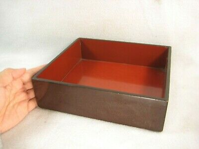 Antique Japanese Signed 150 Year Old Wood Red & Black Lacquer Food Container