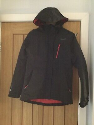 Ladies Size 12 Black Padded Waterproof Coat Raincoat With Hood And Zip Pockets