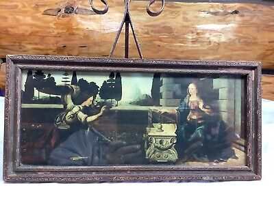 Antique Victorian Print Women In Garden Deresut Old Wooden Frame