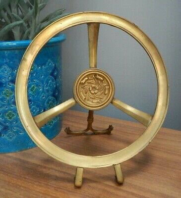 Antique Arts & Crafts Brass Folding Round Trivet Kettle Stand~Bluebell Decoratio