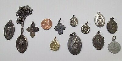 12 Pc. Vintage Lot Catholic Holy Religious Medals 3-STERLING Old Heavy Nice!