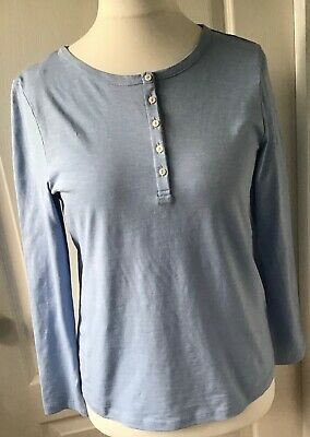 MARKS & SPENCER Pale Blue Grandad Style Long Sleeved Top - Size 12 - BNWT