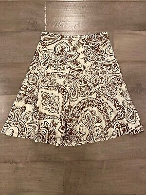 NEW Gap womens A Line skirt Fit & Flare Cream Brown cotton Floral Lined Sz 8