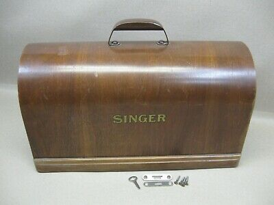 Vtg Singer 28 128 99 Sewing Machine 3/4 Size Bentwood Wood Case Lid Only w/ Key