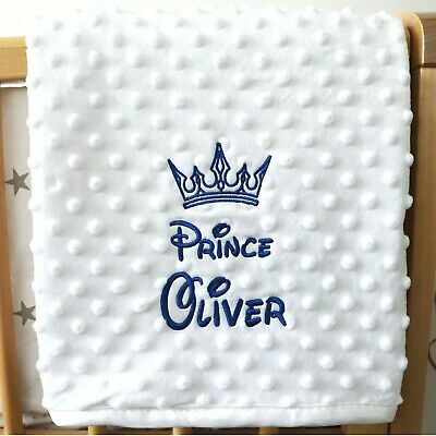Personalised Baby Blanket Luxury White Bubble Style Blue Font Disney Prince Gift