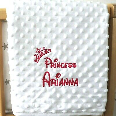Personalised Baby Blanket Luxury White Bubble Pink Font Disney Princess Gift