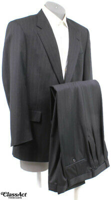 """HART SCHAFFNER Marx Gold Trumpeter Charcoal Striped Wool Suit 42R Pleated 36"""" W"""