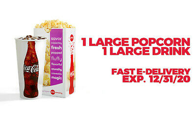 AMC Theaters 1 Large Drink & 1 Large Popcorn--Fast E-Delivery Expires  12/31/20